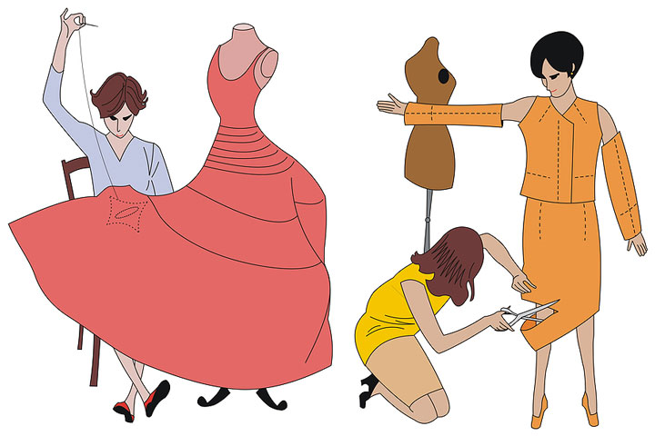 two dressmakers cutting a hemline and sewing a dress